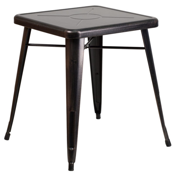 Wholesale 23.75'' Square Black-Antique Gold Metal Indoor-Outdoor Table