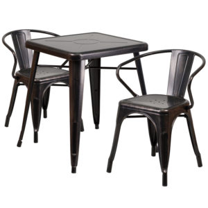 Wholesale 23.75'' Square Black-Antique Gold Metal Indoor-Outdoor Table Set with 2 Arm Chairs
