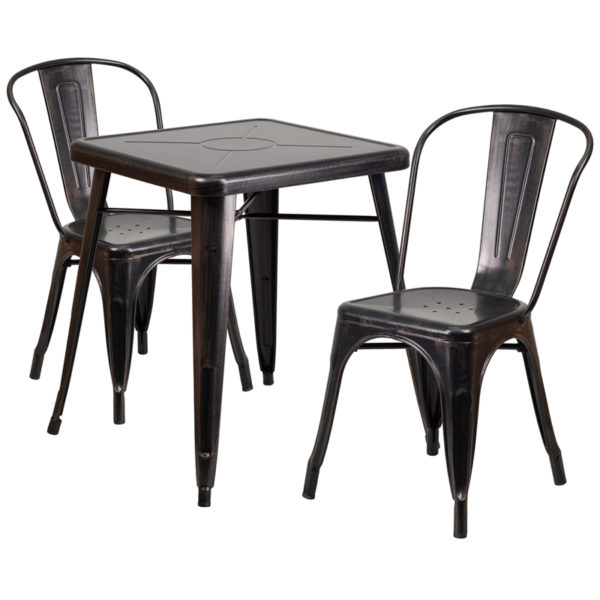 Wholesale 23.75'' Square Black-Antique Gold Metal Indoor-Outdoor Table Set with 2 Stack Chairs