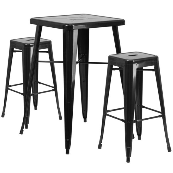 Lowest Price 23.75'' Square Black Metal Indoor-Outdoor Bar Table Set with 2 Square Seat Backless Stools