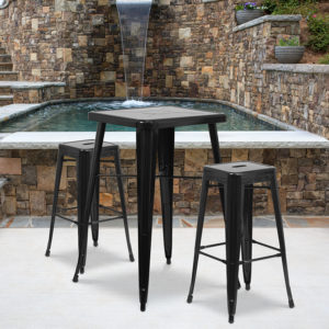 Wholesale 23.75'' Square Black Metal Indoor-Outdoor Bar Table Set with 2 Square Seat Backless Stools