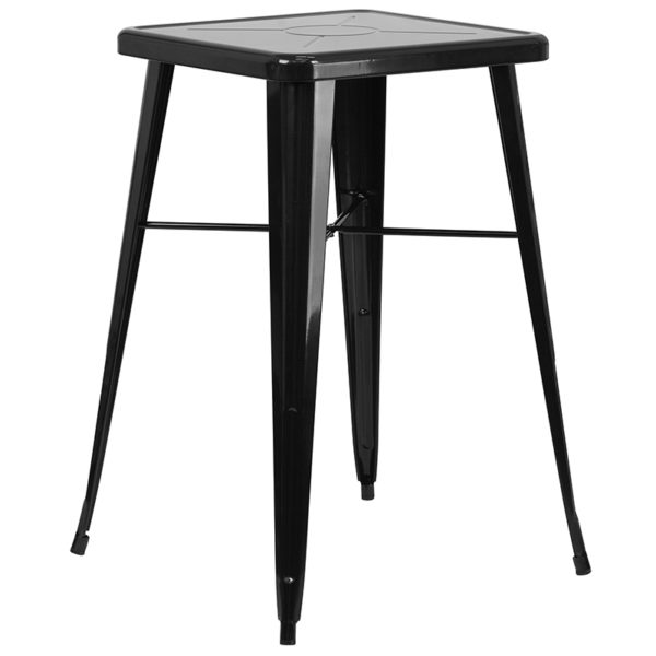 Contemporary Style Bar Table and Stack Stool Set 23.75SQ Black Metal Bar Set