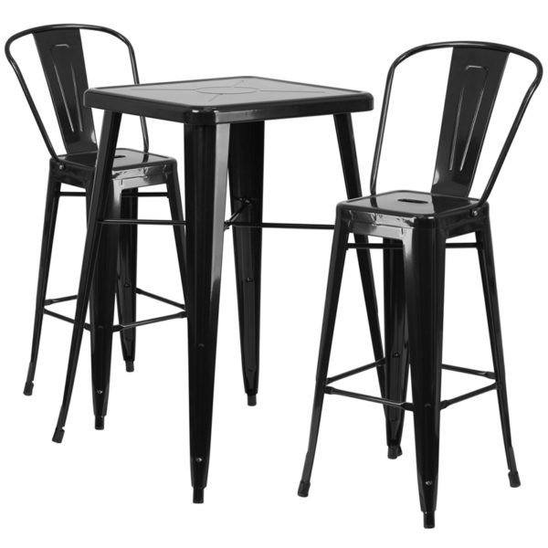 Lowest Price 23.75'' Square Black Metal Indoor-Outdoor Bar Table Set with 2 Stools with Backs