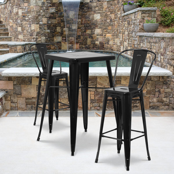 Wholesale 23.75'' Square Black Metal Indoor-Outdoor Bar Table Set with 2 Stools with Backs