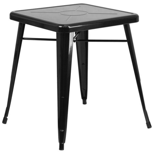 Wholesale 23.75'' Square Black Metal Indoor-Outdoor Table