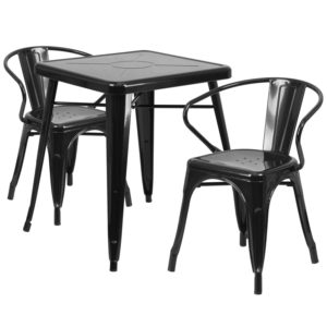 Wholesale 23.75'' Square Black Metal Indoor-Outdoor Table Set with 2 Arm Chairs