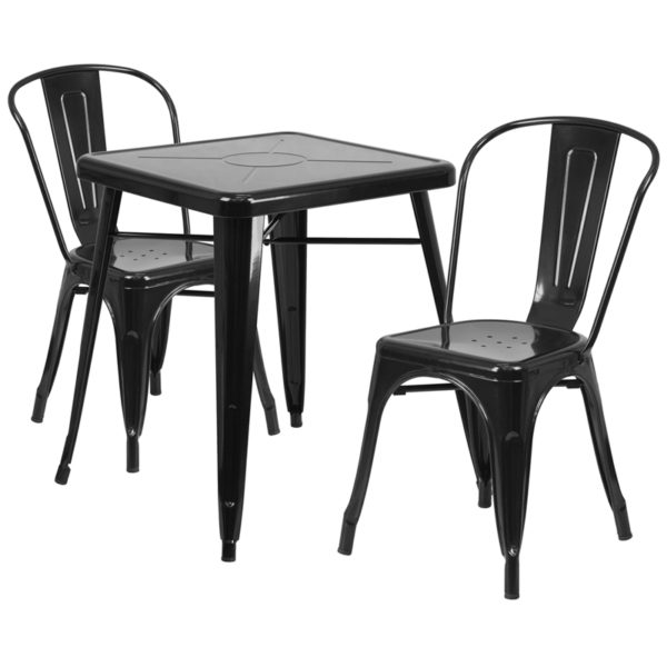 Wholesale 23.75'' Square Black Metal Indoor-Outdoor Table Set with 2 Stack Chairs