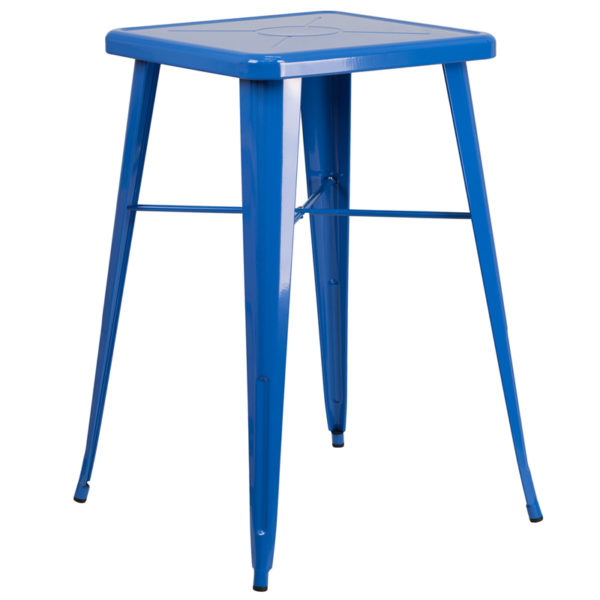 Wholesale 23.75'' Square Blue Metal Indoor-Outdoor Bar Height Table