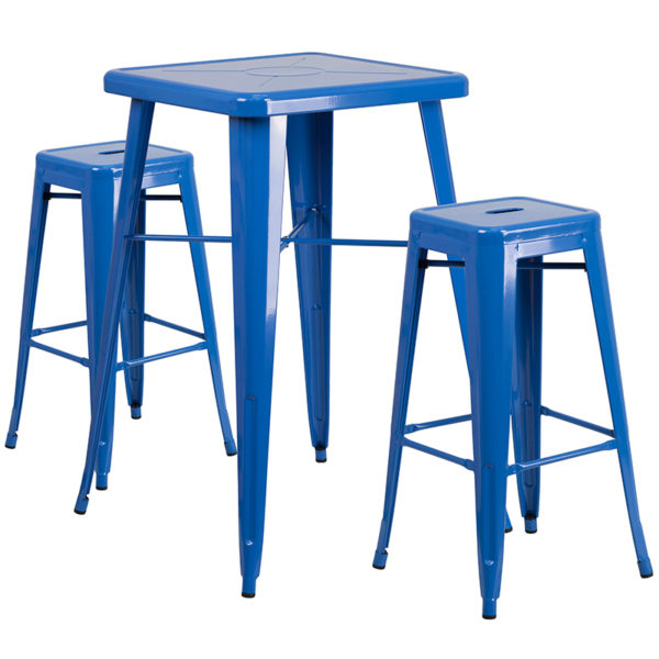 Lowest Price 23.75'' Square Blue Metal Indoor-Outdoor Bar Table Set with 2 Square Seat Backless Stools