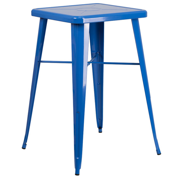 Contemporary Style Bar Table and Stack Stool Set 23.75SQ Blue Metal Bar Set