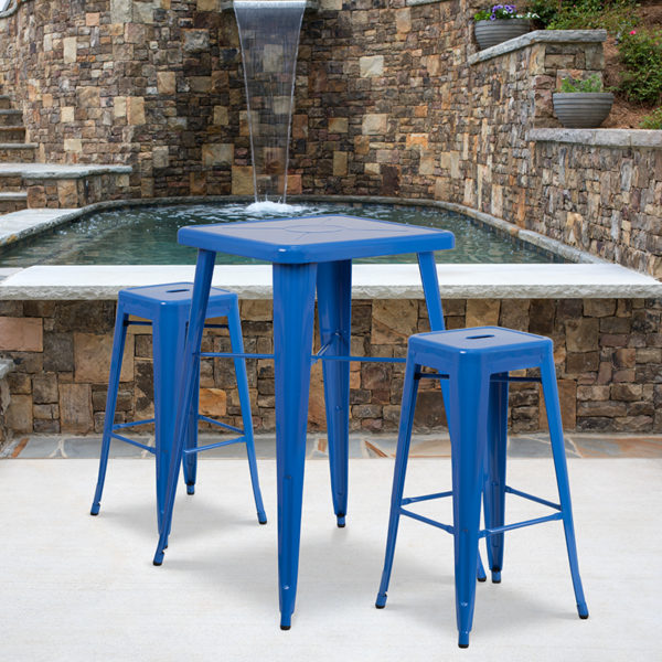 Wholesale 23.75'' Square Blue Metal Indoor-Outdoor Bar Table Set with 2 Square Seat Backless Stools