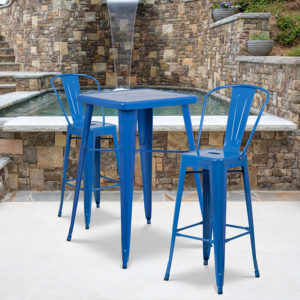 Wholesale 23.75'' Square Blue Metal Indoor-Outdoor Bar Table Set with 2 Stools with Backs