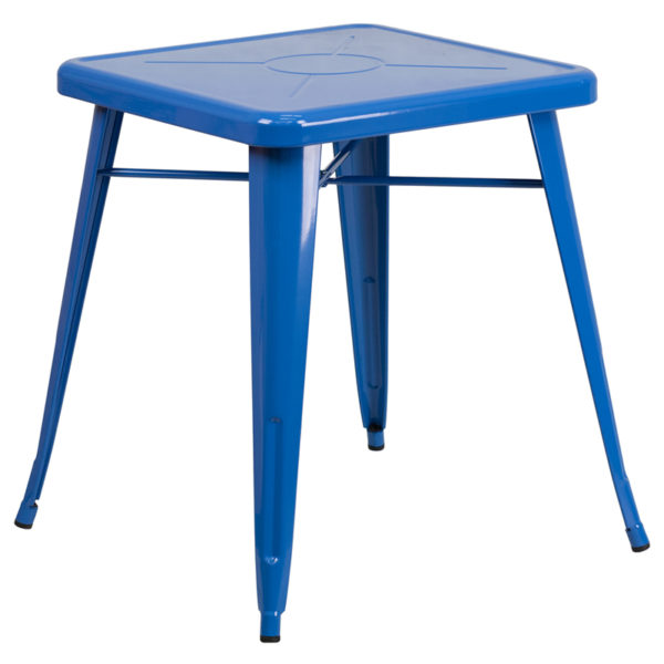 Wholesale 23.75'' Square Blue Metal Indoor-Outdoor Table