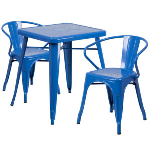 Wholesale 23.75'' Square Blue Metal Indoor-Outdoor Table Set with 2 Arm Chairs