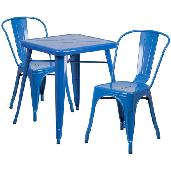Wholesale 23.75'' Square Blue Metal Indoor-Outdoor Table Set with 2 Stack Chairs