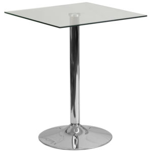 Wholesale 23.75'' Square Glass Table with 30''H Chrome Base