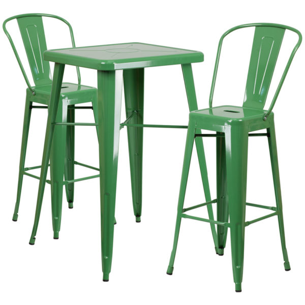 Lowest Price 23.75'' Square Green Metal Indoor-Outdoor Bar Table Set with 2 Stools with Backs