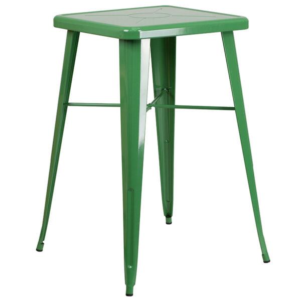 Bar Height Table and Stool Set 23.75SQ Green Metal Bar Set