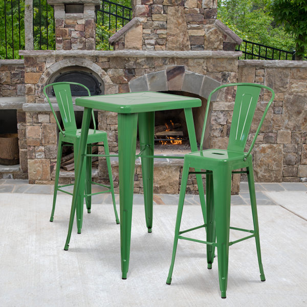 Wholesale 23.75'' Square Green Metal Indoor-Outdoor Bar Table Set with 2 Stools with Backs