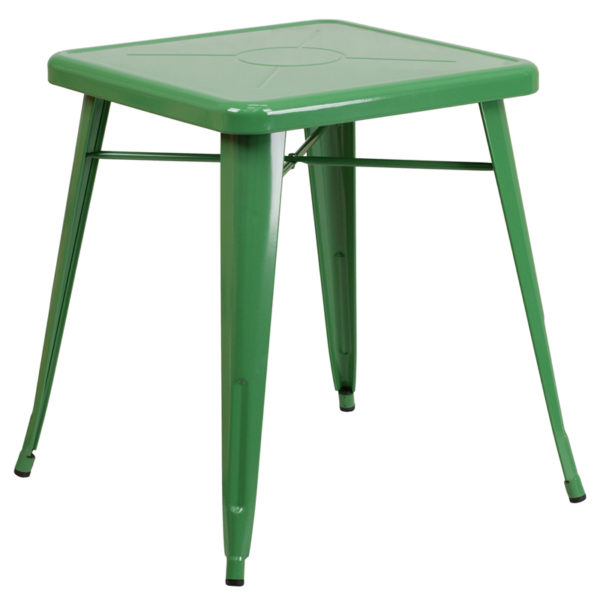 Wholesale 23.75'' Square Green Metal Indoor-Outdoor Table