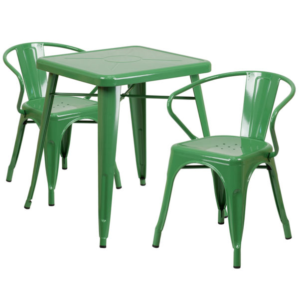 Wholesale 23.75'' Square Green Metal Indoor-Outdoor Table Set with 2 Arm Chairs