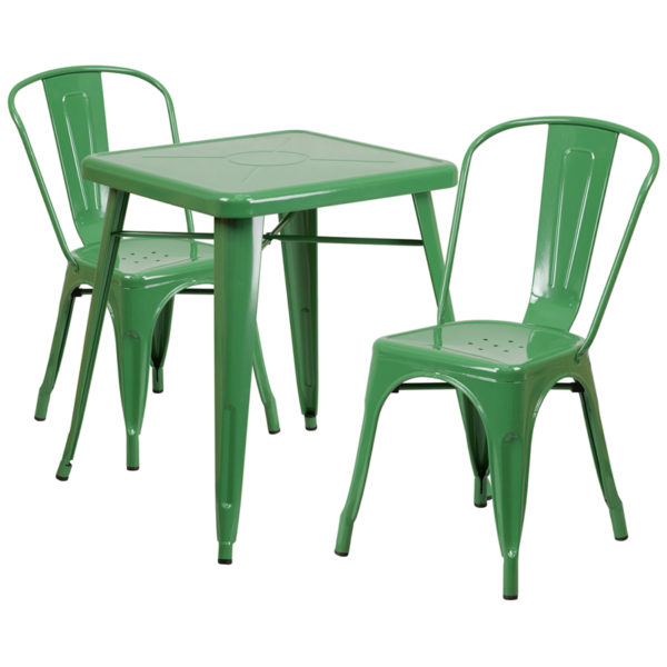 Wholesale 23.75'' Square Green Metal Indoor-Outdoor Table Set with 2 Stack Chairs