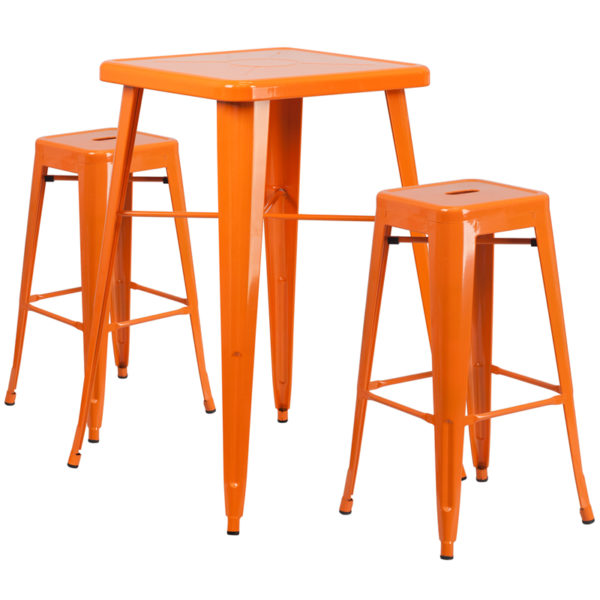 Lowest Price 23.75'' Square Orange Metal Indoor-Outdoor Bar Table Set with 2 Square Seat Backless Stools