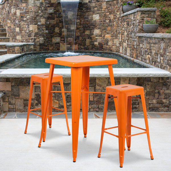 Wholesale 23.75'' Square Orange Metal Indoor-Outdoor Bar Table Set with 2 Square Seat Backless Stools
