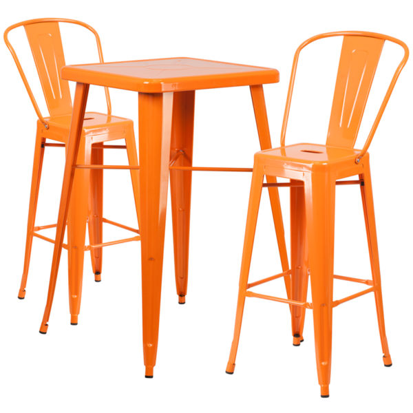 Lowest Price 23.75'' Square Orange Metal Indoor-Outdoor Bar Table Set with 2 Stools with Backs
