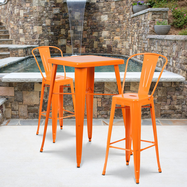 Wholesale 23.75'' Square Orange Metal Indoor-Outdoor Bar Table Set with 2 Stools with Backs