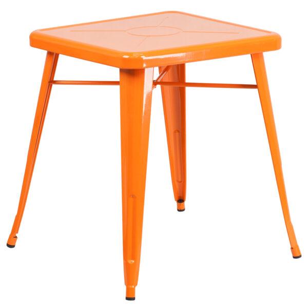 Wholesale 23.75'' Square Orange Metal Indoor-Outdoor Table