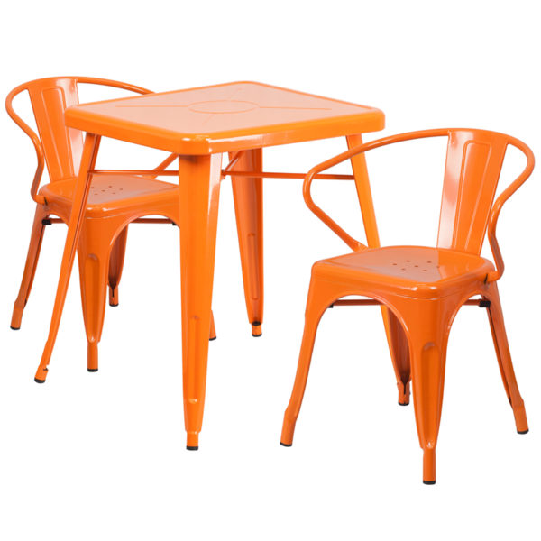 Wholesale 23.75'' Square Orange Metal Indoor-Outdoor Table Set with 2 Arm Chairs