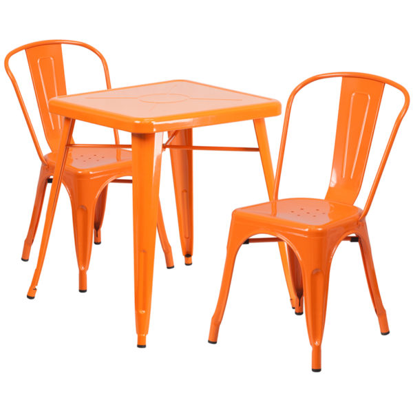 Wholesale 23.75'' Square Orange Metal Indoor-Outdoor Table Set with 2 Stack Chairs