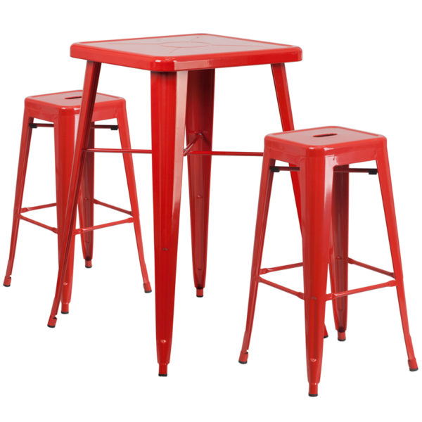 Lowest Price 23.75'' Square Red Metal Indoor-Outdoor Bar Table Set with 2 Square Seat Backless Stools