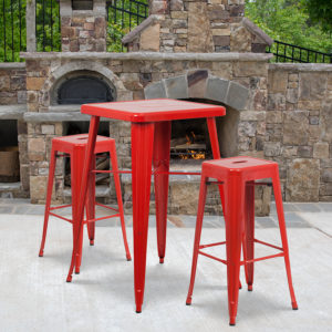 Wholesale 23.75'' Square Red Metal Indoor-Outdoor Bar Table Set with 2 Square Seat Backless Stools