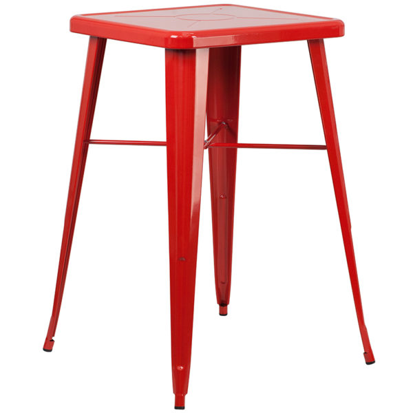 Contemporary Style Bar Table and Stack Stool Set 23.75SQ Red Metal Bar Set