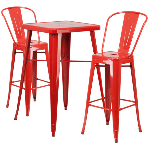 Lowest Price 23.75'' Square Red Metal Indoor-Outdoor Bar Table Set with 2 Stools with Backs