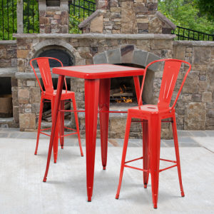 Wholesale 23.75'' Square Red Metal Indoor-Outdoor Bar Table Set with 2 Stools with Backs