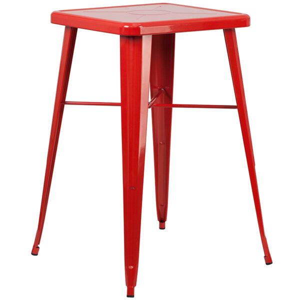 Bar Height Table and Stool Set 23.75SQ Red Metal Bar Set