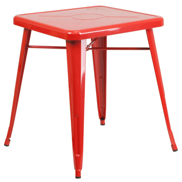 Wholesale 23.75'' Square Red Metal Indoor-Outdoor Table