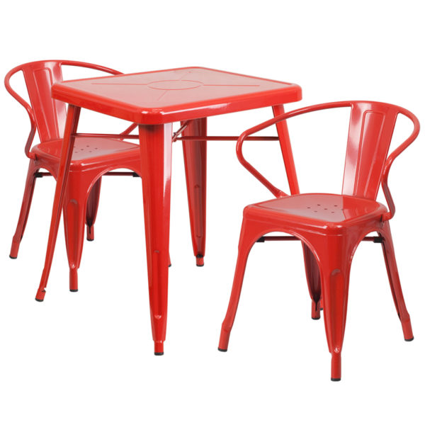 Wholesale 23.75'' Square Red Metal Indoor-Outdoor Table Set with 2 Arm Chairs