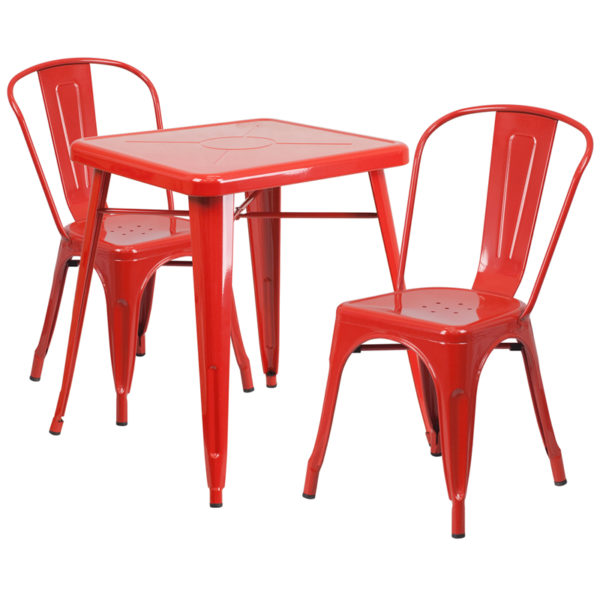 Wholesale 23.75'' Square Red Metal Indoor-Outdoor Table Set with 2 Stack Chairs