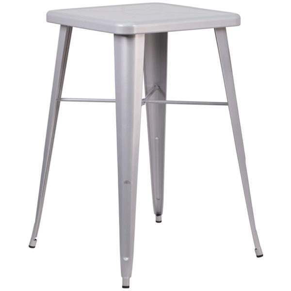 Wholesale 23.75'' Square Silver Metal Indoor-Outdoor Bar Height Table