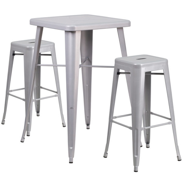 Lowest Price 23.75'' Square Silver Metal Indoor-Outdoor Bar Table Set with 2 Square Seat Backless Stools