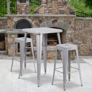 Wholesale 23.75'' Square Silver Metal Indoor-Outdoor Bar Table Set with 2 Square Seat Backless Stools