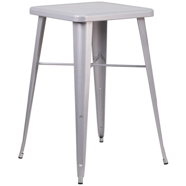 Contemporary Style Bar Table and Stack Stool Set 23.75SQ Silver Metal Bar Set