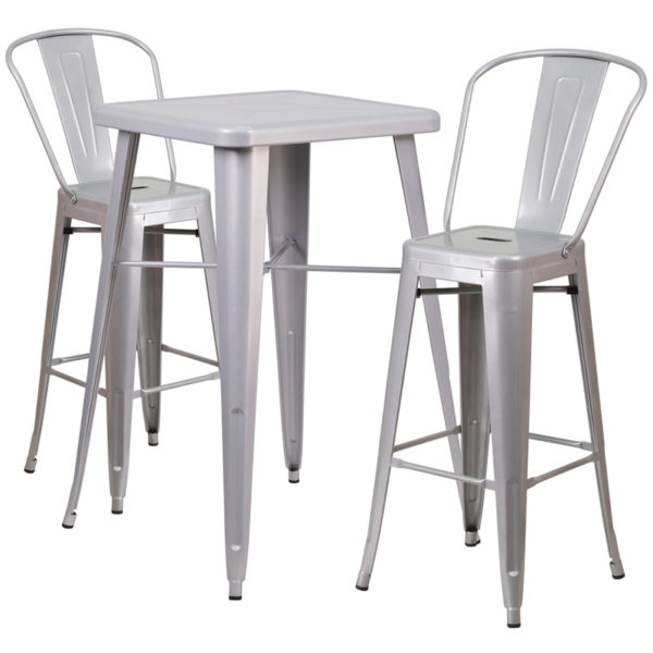 Lowest Price 23.75'' Square Silver Metal Indoor-Outdoor Bar Table Set with 2 Stools with Backs