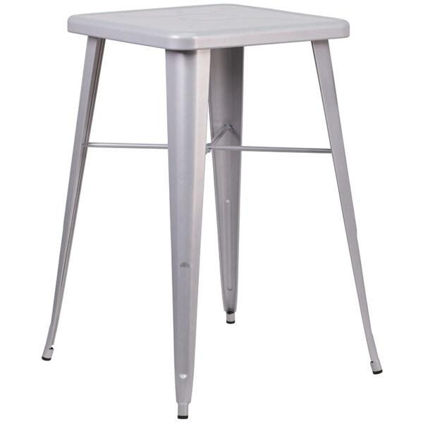 Bar Height Table and Stool Set 23.75SQ Silver Metal Bar Set