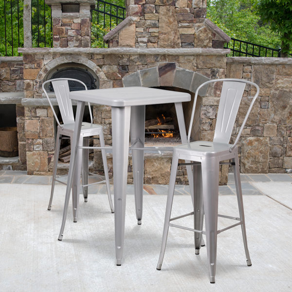 Wholesale 23.75'' Square Silver Metal Indoor-Outdoor Bar Table Set with 2 Stools with Backs
