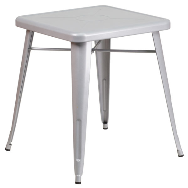 Wholesale 23.75'' Square Silver Metal Indoor-Outdoor Table